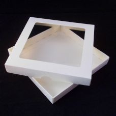 "9"" x 9"" Ivory Invitation Boxes With Aperture Lid"